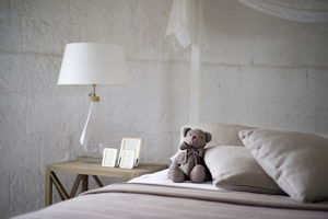 Bedroom with teddy bear